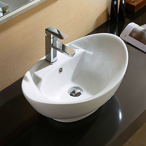 Mecor Oval Bathroom Vessel Sink Vanity Basin Pop Up Drain White Porcelain Ceramic Bowl