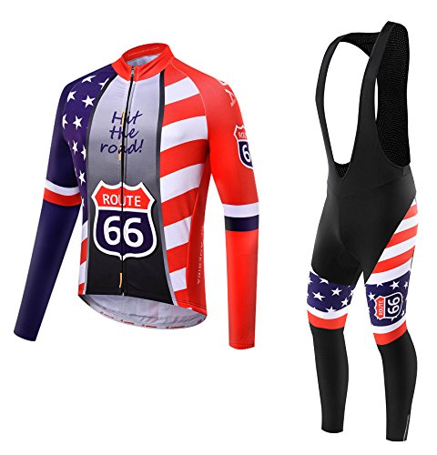 Team USA Thermal long sleeve Jersey & Bib Tight. Use for Winter Autumn & Spring (size:L) (Winter Bib Tights)