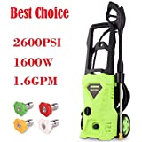 2600 PSI Electric Pressure Washer, 1600W Rolling Wheels High Pressure Washer, 1.6 GPM with Professional Cleaner Machine 5 Interchangeable Nozzles and Turbo Wand