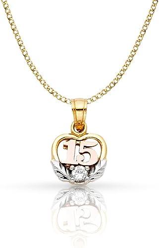 Plain Polish 14K Tri-Color Gold Sweet 15 Anos Quinceanera Heart Charm Pendant