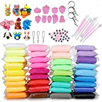 ideallife Modeling Clay Air Dry DIY Ultra Light Molding Clay, 36 Colors Soft Magic Plasticine Craft Toy with Tools, Best...