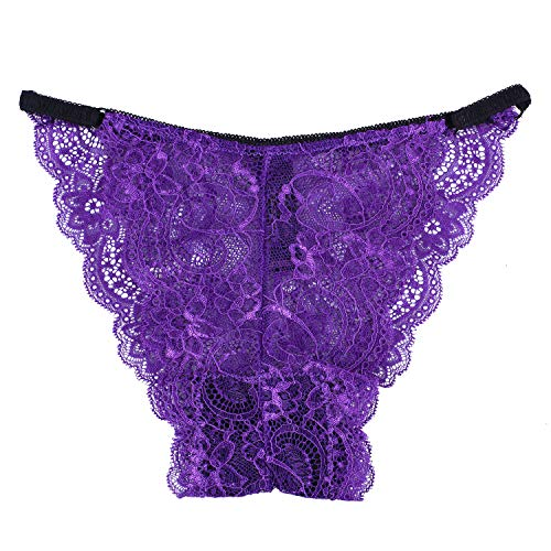 KELITCH Women's Briefs Scalloped Lace Hipster Thong Panty Bow Sexy Underwear Panties Lingerie Purple - String Pretty Thong