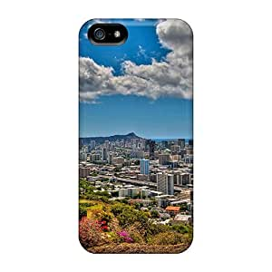 Hpobh6331NvzTn Panoramic View Of Honolulu Hawaii Hdr pragmatic For Iphone 5C Phone Case Cover PC Flexible Soft Case