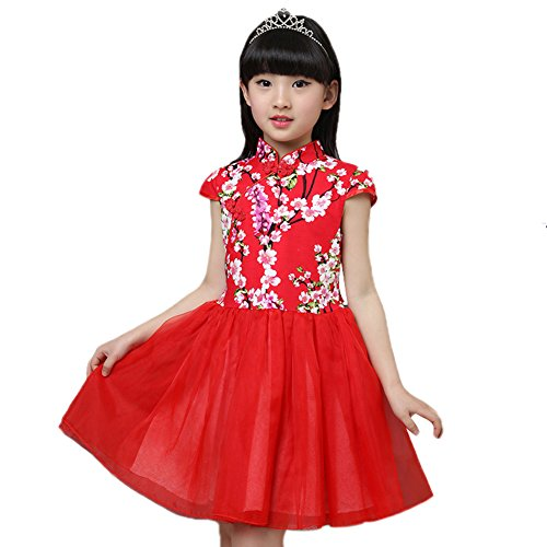Tortor 1Bacha Little Girls Floral Cheongsam Chinese Qipao Bodice Tulle Dress Red 6-7 ()