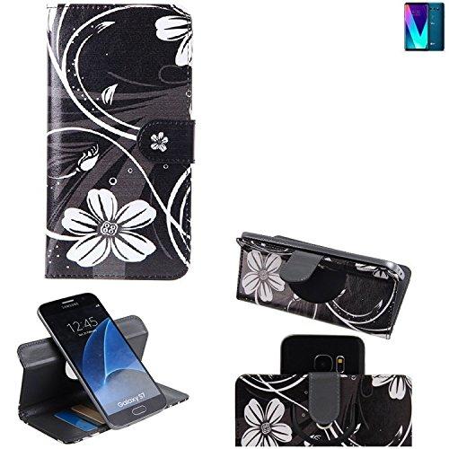 LG Electronics V30S+ ThinQ Cartera Funda Carcasa flores   360° Wallet Case Protección innovadora de la cámara - K-S-Trade (TM)