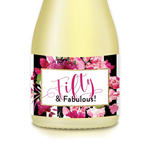 50th SURPRISE BIRTHDAY PARTY Ideas for Woman, Mini Champagne & Wine Bottle Label Decorations, She's Fifty & Fabulous! Set of 20 Pink Decals, Mom, Wife, Sister, Female, Women Celebrating 50 Fiftieth -