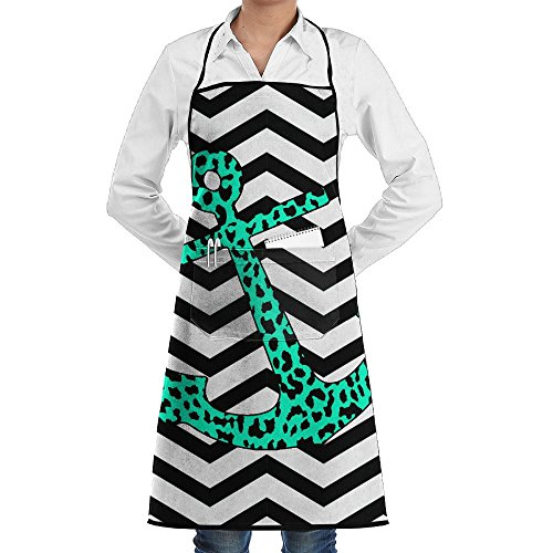 Mint Leopard Chevron Anchor Novelty 3D Print Water Resistant Polyester Kitchen Apron With Big Pockets Machine Washable Easy Care Twill Sewing Bib Apron For Cooking BBQ Party -