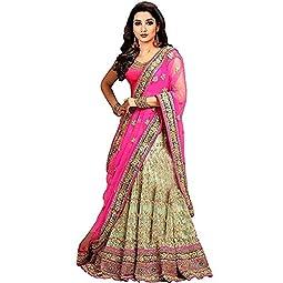 Fast Fashions Women's Net Unstitched Lehenga Choli (FF – 2121_Pink_Free Size)