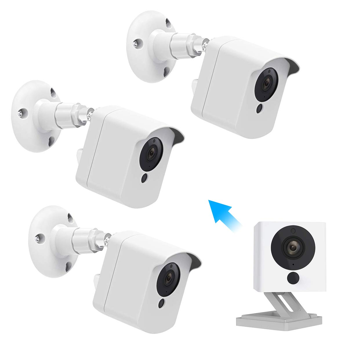 Wyze Cam Wall Mount, Caremoo Weatherproof Protective Cover with Adjustable Mount for Wyze Cam V2 Camera, Indoor/Outdoor Use (White, 3 Pack) by Caremoo