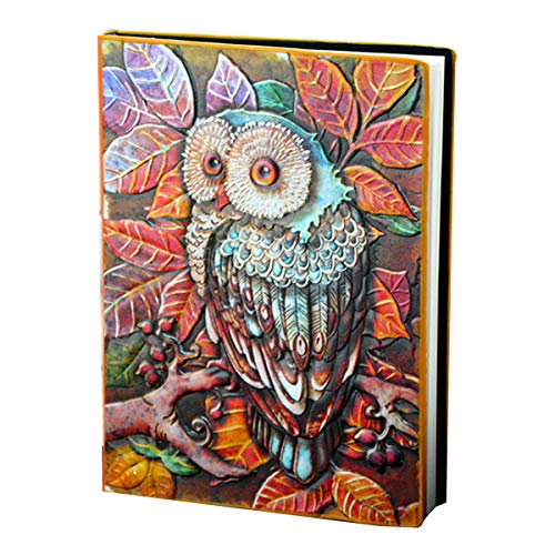 (Danse Jupe Vintage Faux Leather Notepad Antique Handcraft Embossed Owl Diary Notebook Travel Journals for Best Gift(Colorized, 100 Sheets))