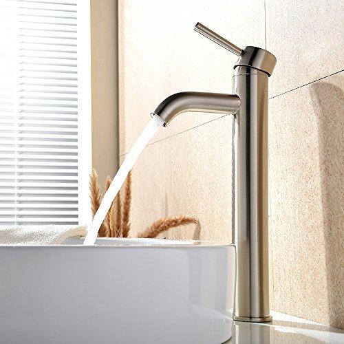 VAPSINT Modern Brushed Nickel Stainless Steel Tall Single Handle Lavatory Bathroom Sink Faucet, Brushed Nickel Bathroom - Branded Email Co