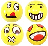 Set of 4 Assorrted Big Happy Face Hand Wrist Finger Exercise Stress Relief Therapy Squeeze Ball Review