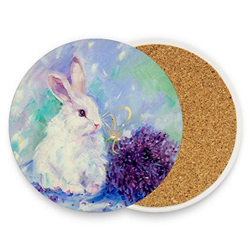 LoveBea Bunny Painting Rabbit Coasters, Protect Your Furniture from Stains,Coffee, Wood Coasters Funny Housewarming Gift,Round Cup Mat Pad for Home, Kitchen Or Bar Set of -