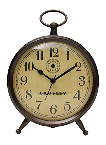 Timelink 33301 Crosley Vintage Alarm Clock for Desk Side Table and Night Stand, All Metal Case, Simple Controls, Battery Operated, Bronze