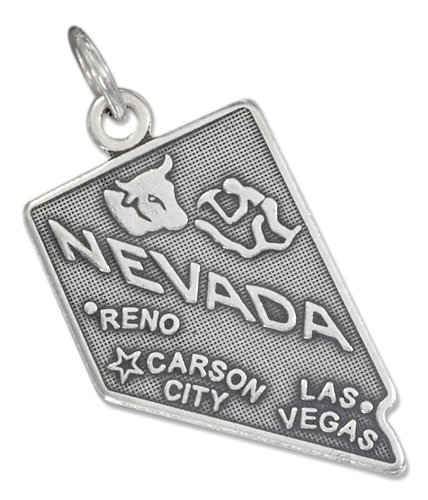 Sterling Silver Antiqued Nevada State Charm (Nevada State Charm)