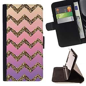 - Gold Bling Pattern Stripe - - Prima caja de la PU billetera de cuero con ranuras para tarjetas, efectivo desmontable correa para l Funny HouseFOR HTC One M9