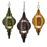 Set of 3 Vibrant Colored Moroccan Inspired Hanging Lamps
