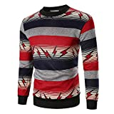 PASATO Men's Autumn Long Sleeve Printed Pullover Sweatshirt Top Tee Outwear Blouse New Hot!(Red, L)