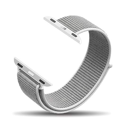 amBand Compatible for Apple Watch Sport Loop Band 38mm, Lightweight Breathable Nylon Replacement Band for Apple Watch Series 1, Series 2, Series 3, Sport, Edition-Seashell