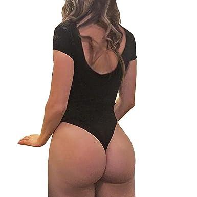 Short Femme Ete 2018 Courte Combinaison Pantalon Habillée Uni Sexy Chemise  sans Manches Tops Siamois G-String - Dames Fluide Salopette Jean Bodysuit   ... 4197672803a