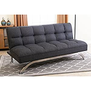 Amazon Com Abbyson Living Bella Grey Linen Tufted Futon