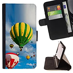 DEVIL CASE - FOR Samsung Galaxy S4 IV I9500 - Sky and balloons - Style PU Leather Case Wallet Flip Stand Flap Closure Cover