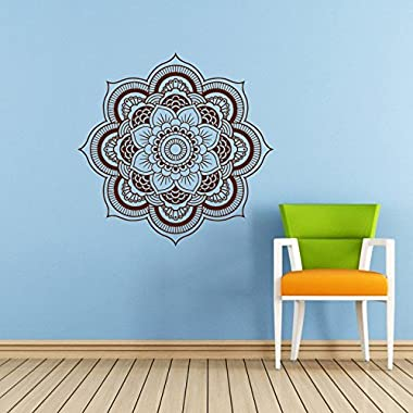Mandala Wall Decal Namaste Flower Mandala Indian Lotus Yoga Wall Vinyl Decals Sticker Home Interior Wall Decor for Any Room Housewares Mural Design Graphic Bedroom Wall Decal Bathroom (5924)