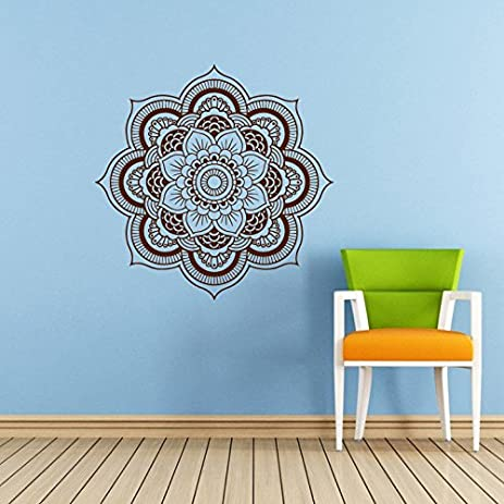 Mandala Wall Decal Namaste Flower Mandala Indian Lotus Yoga Wall Vinyl  Decals Sticker Home Interior Wall