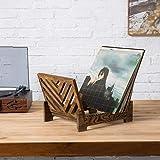 MyGift Vintage Dark Brown Wood Tabletop Vinyl
