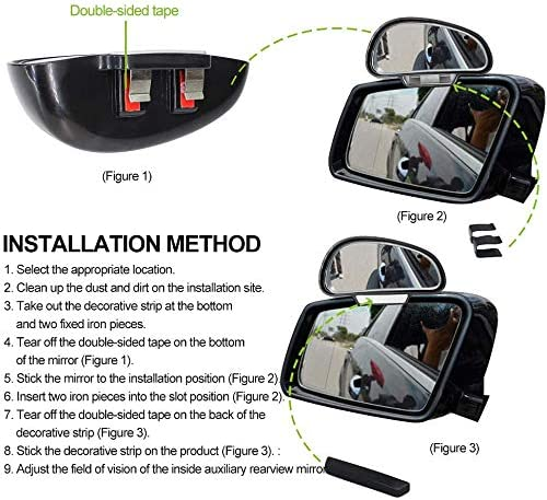 2PCS Blind Spot Mirror for Cars,Biqing Universal 360 Degree Adjustable Auxiliary Mirror Wide-Angle Blind Spot Side Rear View Mirror Right Left