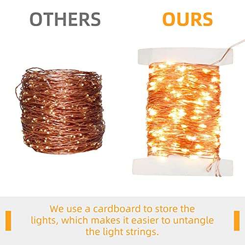 Extra-Long Solar String Lights, 2 Pack 160FT 480LED 8 Modes Solar Fairy Lights, Outdoor Waterproof Copper Wire Christmas Decoration Lighting for Garden, Tree, Wedding, Party, Halloween