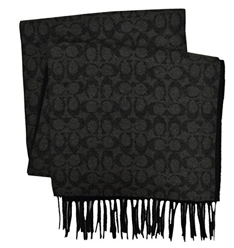 Coach New Yorks Men's Cashmere Wool Blend Signature Logo Rectangle Scarf Black Grey (Logo Wool Scarf)