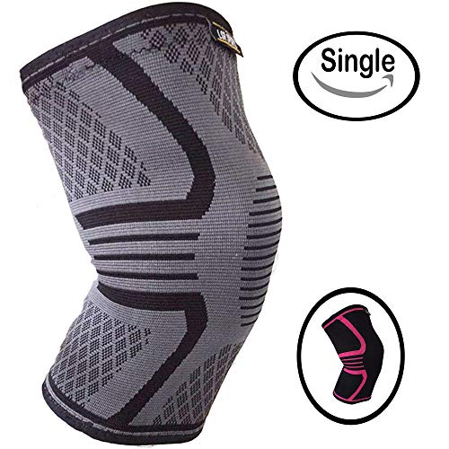Knee Support Brace for Men & Women by LSR- Knee Compression Sleeve for Exercise, Running, Jogging, Sports- Arthritis, Joint Pain Relief, Surgery Recovery - Single Wrap - Grey/Black Medium