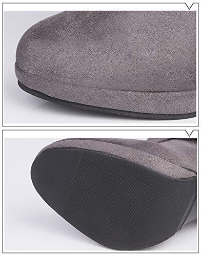 High Boots Women Boots Ladies Platform Roman Shoes Gray Knee Buckle Martin Heels Long qTfwXgT