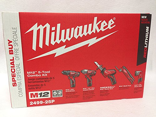 (Milwaukee 2499-25p m12 12v 5 tool combo kit with 3rd Free battery)