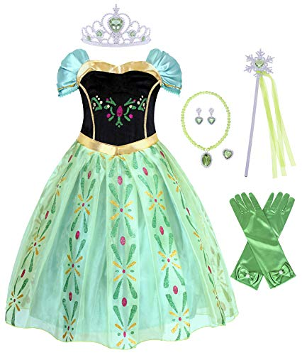 Cotrio Green Anna Coronation Dress Up Girls Princess Dresses Halloween Costumes with Accessories (8, 7-8 Years, Gloves, Tiara, Scepter, Necklace, Ring,Earrings) -