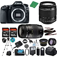 Canon EOS 80D Camera with 18-55mm IS STM + Tamron 70-300mm AF + 2pcs 16GB Memory + Case + Reader + Tripod + ZeeTech Starter Set + Wide Angle + Telephoto + Flash + Filter