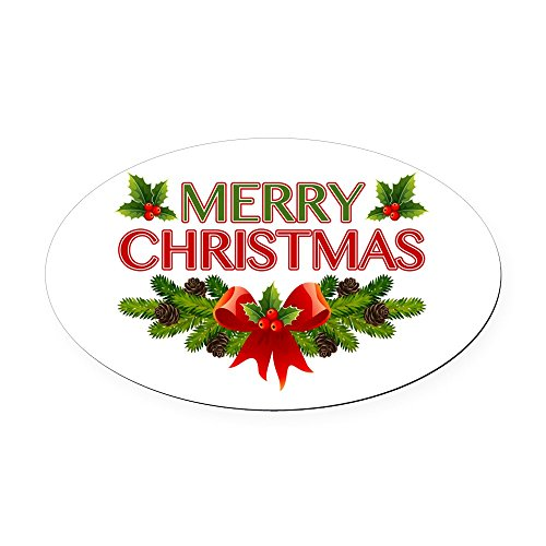 CafePress - Merry Christmas Berries & Holly - Oval Car Magnet, Euro Oval Magnetic Bumper ()