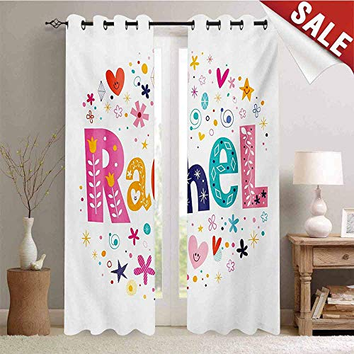 Rachel Window Curtain Fabric Ornamental Lettering with Hearts Stars and Flowers Sixties Inspired Colorful Motifs Drapes for Living Room W72 x L108 Inch Multicolor