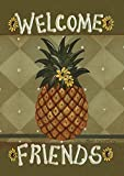 Toland Home Garden Welcome Friends 12.5 x 18 Inch Decorative Americana Pineapple Sunflower Double Sided Garden Flag