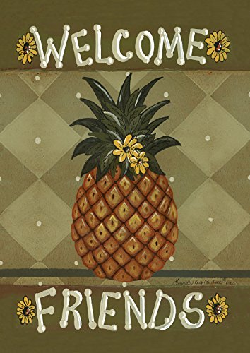 Toland Home Garden Welcome Friends 28 x 40 Inch Decorative Americana Pineapple Sunflower Double Sided House Flag (Welcome Pineapple House)