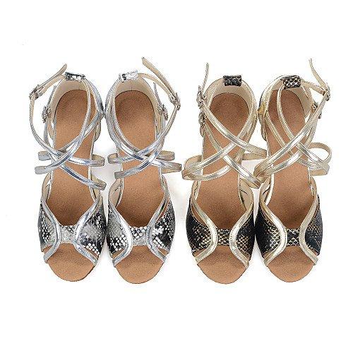 T Mujer tacón de Baile sintético Acampanados Q Cuero T Plata Zapatillas FwUqOBFr