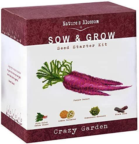 Nature's Blossom Exotic Vegetables Grow Kit - Five Unique Plants to Grow from Seed. Gardening Starter Complete Complete Beginners with All You Need to Start Your Own Home Garden