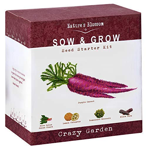 Nature's Blossom Exotic Vegetables Grow Kit - Five Unique Plants to Grow from Seed. Gardening Starter Complete Complete Beginners with All You Need to Start Your Own Home Garden from Nature's Blossom