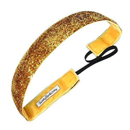 Sweaty Bands Womens Girls Headband - Non-Slip Velvet-Lined Sparkly Hairband - Viva Diva Gold 1-Inch