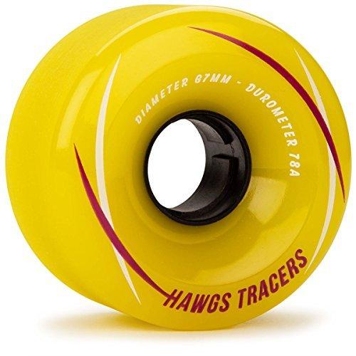 Landyachtz Hawgs Tracers Longboard Wheels - 67mm 78a Yellow (Hawgs Longboard Wheel)