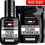Eyelash Glue for Lash Extensions - Extremely Strong Lash Glue for Professional Use - 1 Sec Drying & Maximum Bonding - 2X Size 0,34OZ - Extra Black Lash Adhesive - Latex FREE Lash Adhesive