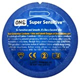 ONE Super Sensitive Premium Lubricated Latex Condoms with Silver Pocket/Travel Case-20 Count