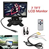 """ePathChina® 7"""" TFT LCD Color 2 Video Input Car RearView Headrest Monitor DVD VCR Monitor With Remote and Stand & Support Rotating The Screen"""