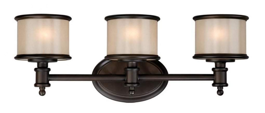 Vaxcel USA CRVLU003NB Carlisle 3 Light Bathroom Vanity Lighting Fixture In  Bronze, Glass   Bathroom Light Bronze Finish   Amazon.com